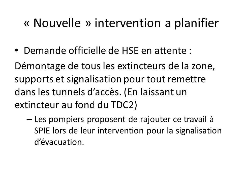 « Nouvelle » intervention a planifier Demande officielle de HSE en attente : Démontage de tous les extincteurs de la zone, supports et signalisation p