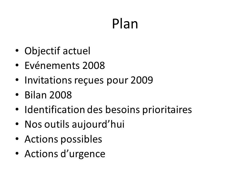 Plan Objectif actuel Evénements 2008 Invitations reçues pour 2009 Bilan 2008 Identification des besoins prioritaires Nos outils aujourdhui Actions pos