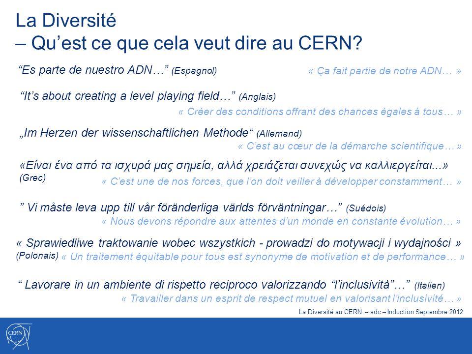 La Diversité – Quest ce que cela veut dire au CERN? Es parte de nuestro ADN… (Espagnol) Vi måste leva upp till vår föränderliga världs förväntningar…