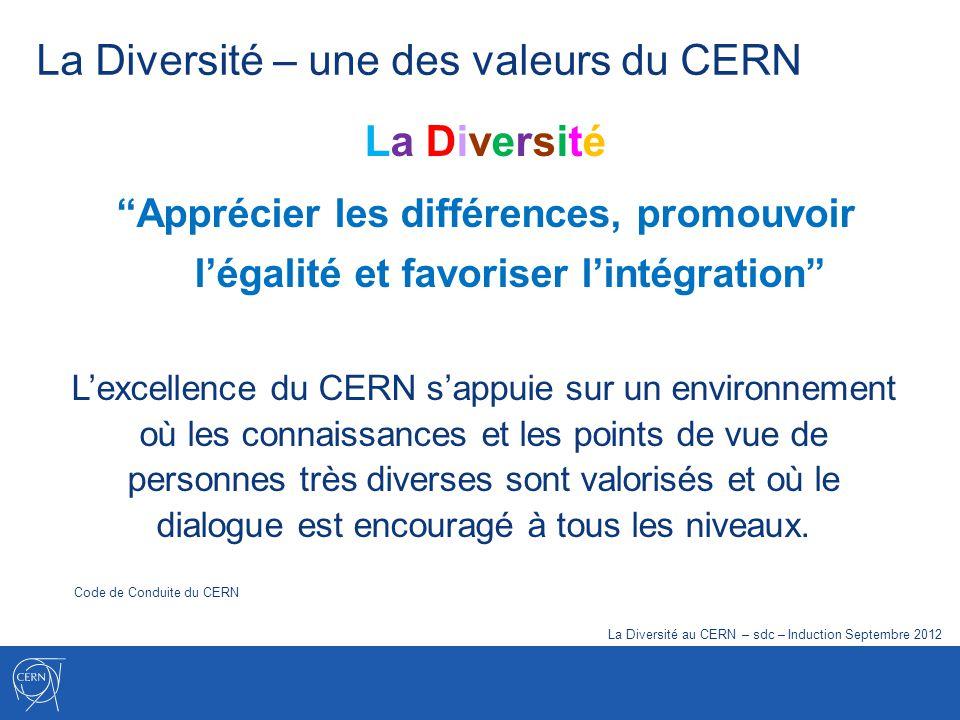 La Diversité – une des valeurs du CERN La Diversité Apprécier les différences, promouvoir légalité et favoriser lintégration Lexcellence du CERN sappu