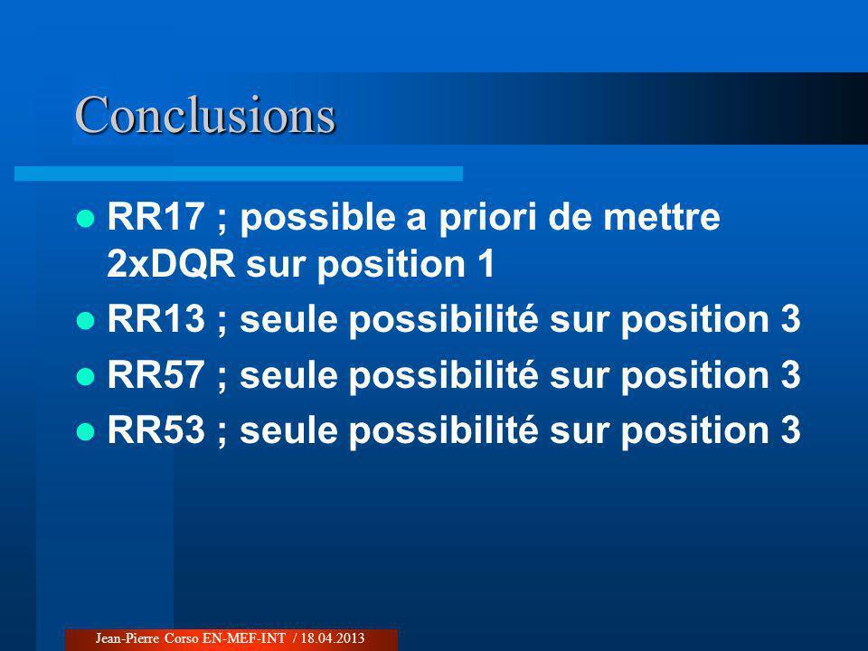 Conclusions RR17 ; possible a priori de mettre 2xDQR sur position 1 RR13 ; seule possibilité sur position 3 RR57 ; seule possibilité sur position 3 RR53 ; seule possibilité sur position 3 Jean-Pierre Corso EN-MEF-INT / 18.04.2013