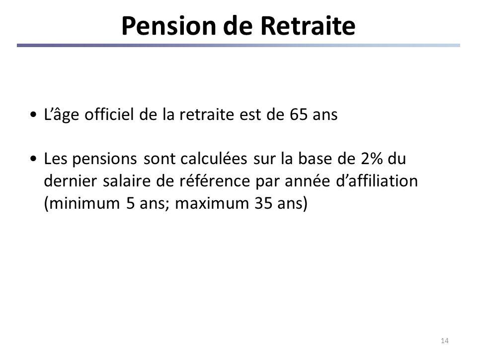 14 Pension de Retraite Lâge officiel de la retraite est de 65 ans Les pensions sont calculées sur la base de 2% du dernier salaire de référence par année daffiliation (minimum 5 ans; maximum 35 ans)