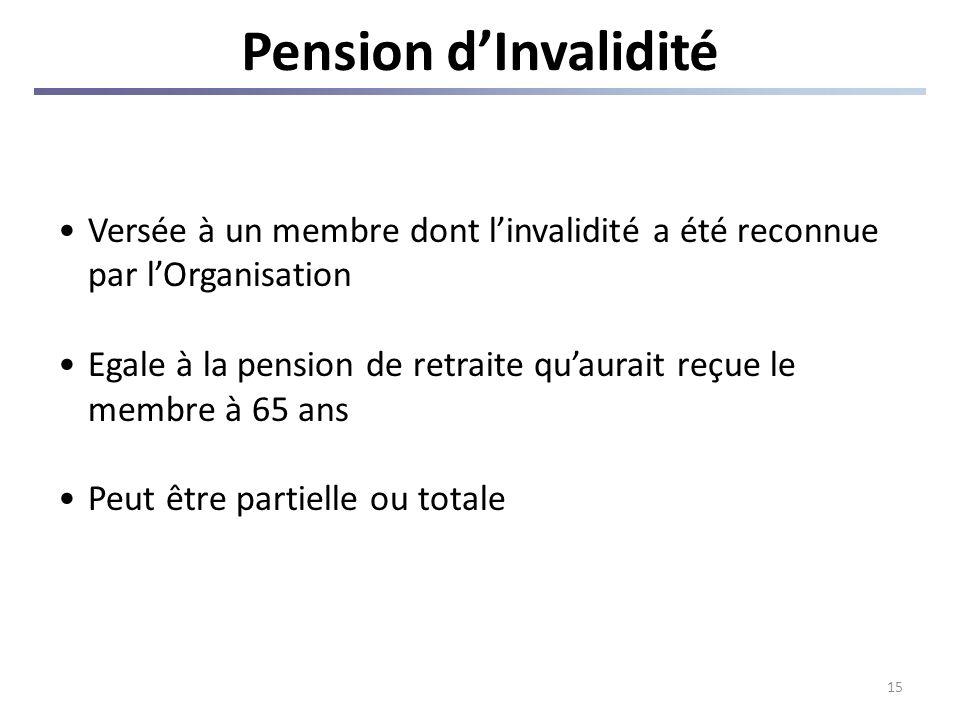 15 Pension dInvalidité Versée à un membre dont linvalidité a été reconnue par lOrganisation Egale à la pension de retraite quaurait reçue le membre à 65 ans Peut être partielle ou totale