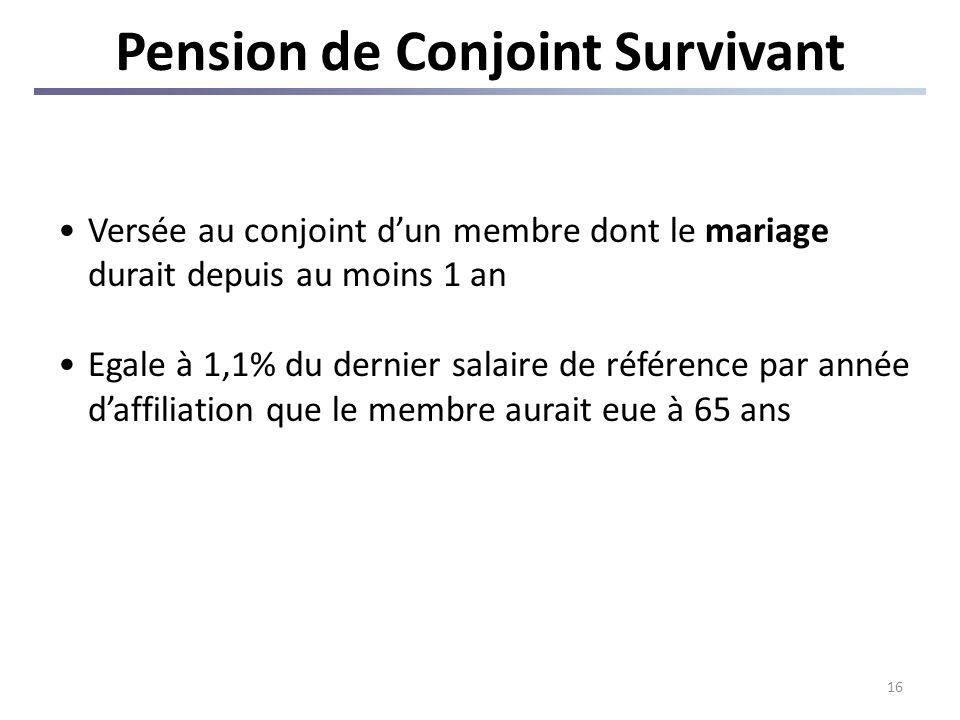 16 Pension de Conjoint Survivant Versée au conjoint dun membre dont le mariage durait depuis au moins 1 an Egale à 1,1% du dernier salaire de référence par année daffiliation que le membre aurait eue à 65 ans