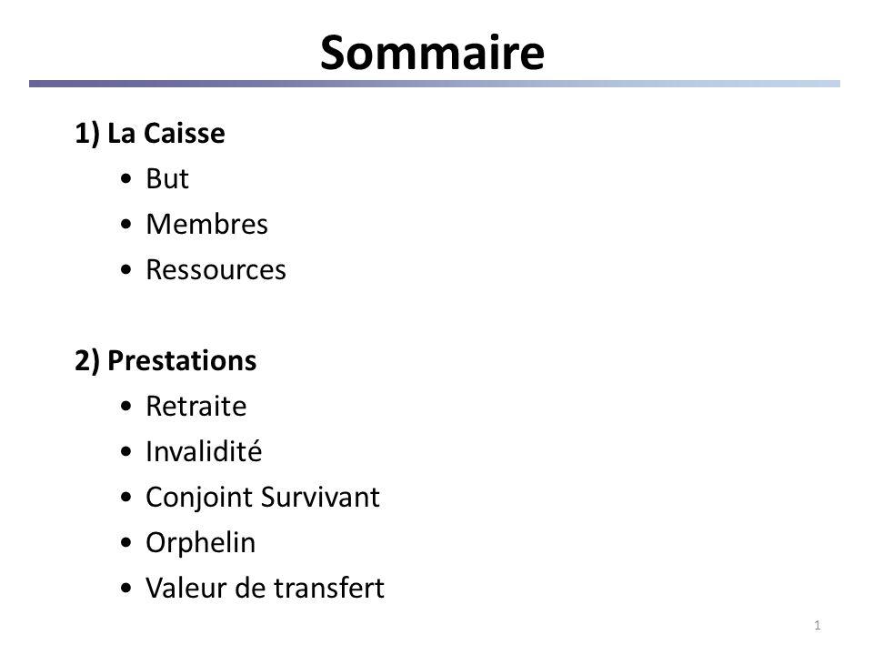 1 Sommaire 1) La Caisse But Membres Ressources 2) Prestations Retraite Invalidité Conjoint Survivant Orphelin Valeur de transfert