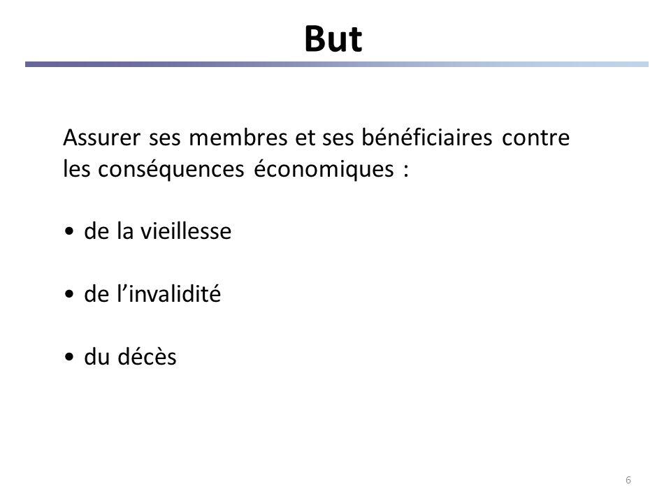 6 But Assurer ses membres et ses bénéficiaires contre les conséquences économiques : de la vieillesse de linvalidité du décès