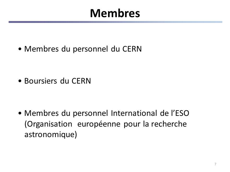7 Membres Membres du personnel du CERN Boursiers du CERN Membres du personnel International de lESO (Organisation européenne pour la recherche astronomique)