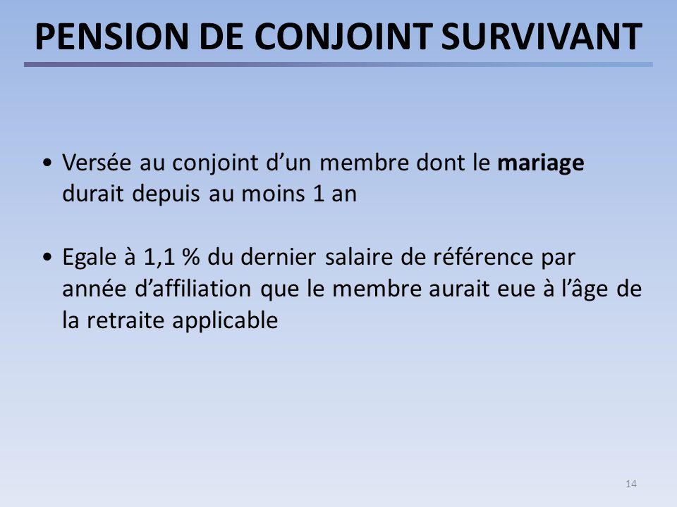 14 PENSION DE CONJOINT SURVIVANT Versée au conjoint dun membre dont le mariage durait depuis au moins 1 an Egale à 1,1 % du dernier salaire de référence par année daffiliation que le membre aurait eue à lâge de la retraite applicable