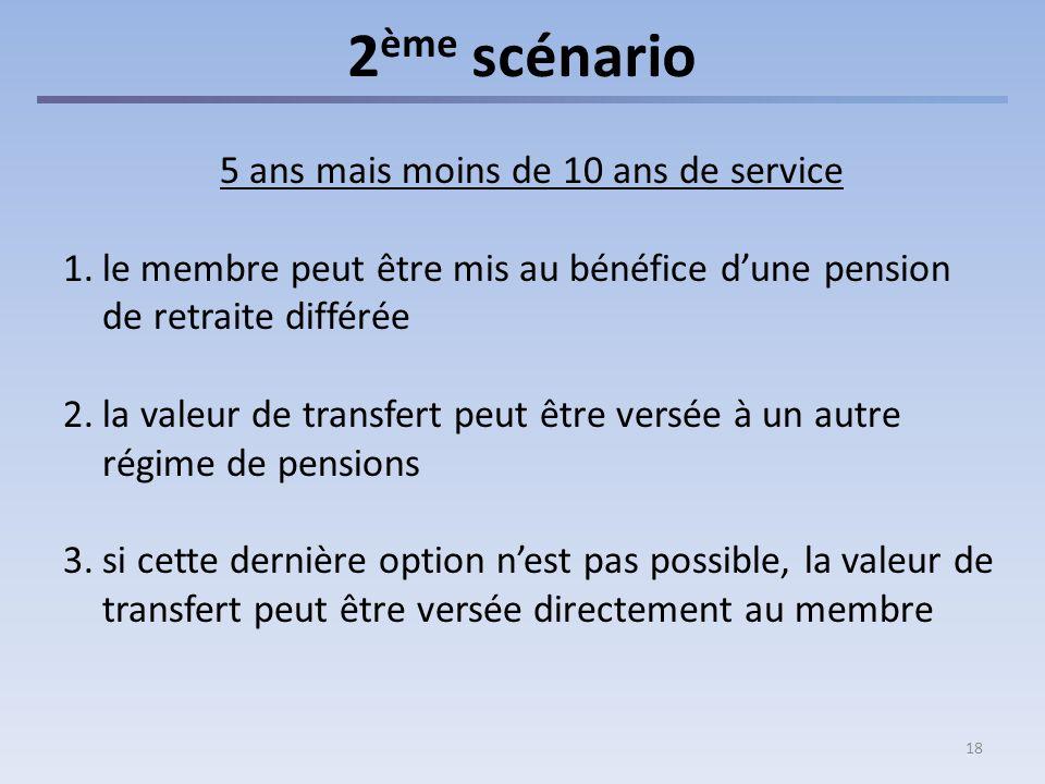 18 2 ème scénario 5 ans mais moins de 10 ans de service 1.le membre peut être mis au bénéfice dune pension de retraite différée 2.la valeur de transfert peut être versée à un autre régime de pensions 3.si cette dernière option nest pas possible, la valeur de transfert peut être versée directement au membre