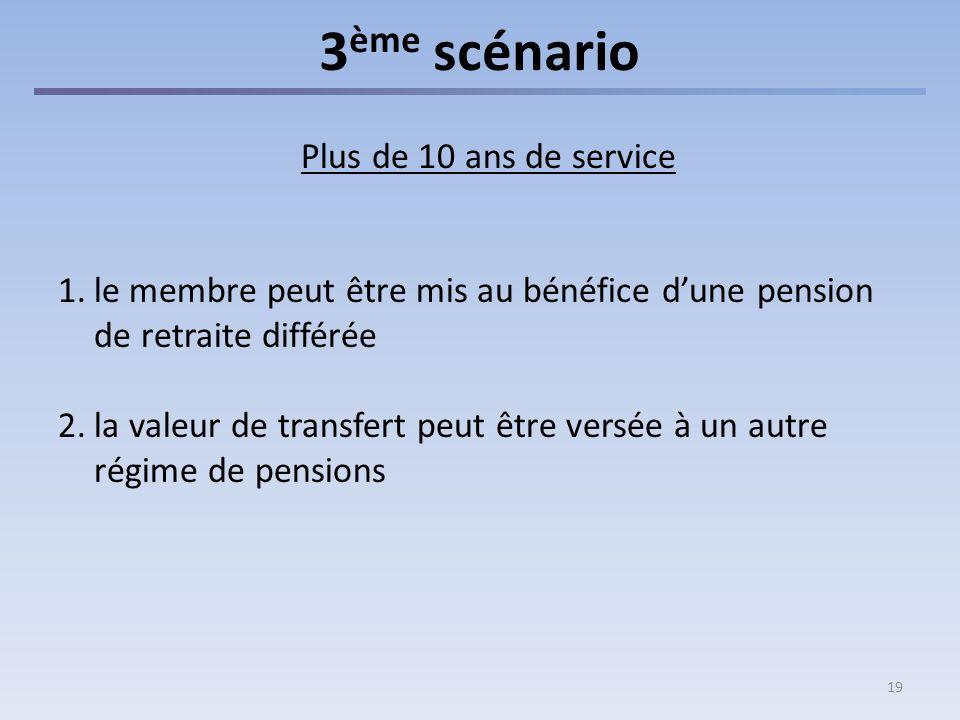 19 3 ème scénario Plus de 10 ans de service 1.le membre peut être mis au bénéfice dune pension de retraite différée 2.la valeur de transfert peut être versée à un autre régime de pensions