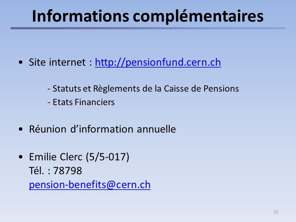 20 Informations complémentaires Site internet : http://pensionfund.cern.chhttp://pensionfund.cern.ch - Statuts et Règlements de la Caisse de Pensions - Etats Financiers Réunion dinformation annuelle Emilie Clerc (5/5-017) Tél.