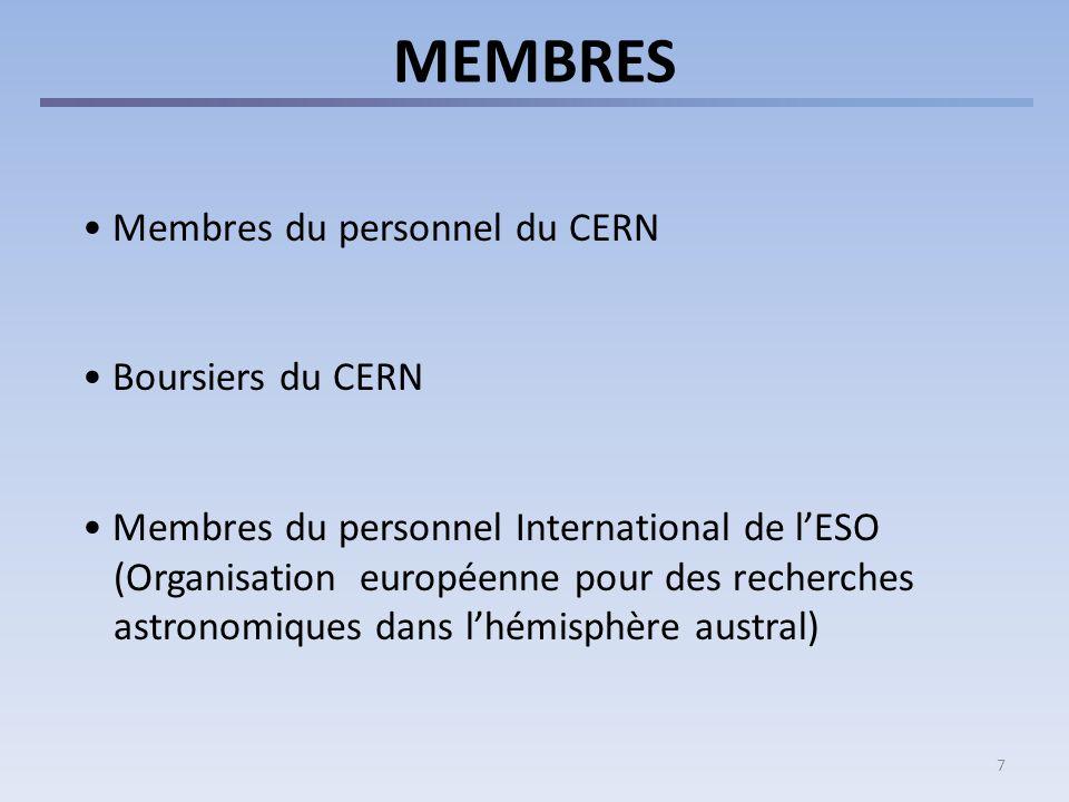 7 MEMBRES Membres du personnel du CERN Boursiers du CERN Membres du personnel International de lESO (Organisation européenne pour des recherches astronomiques dans lhémisphère austral)