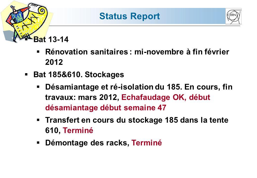 Status Report Bat 13-14 Rénovation sanitaires : mi-novembre à fin février 2012 Bat 185&610.