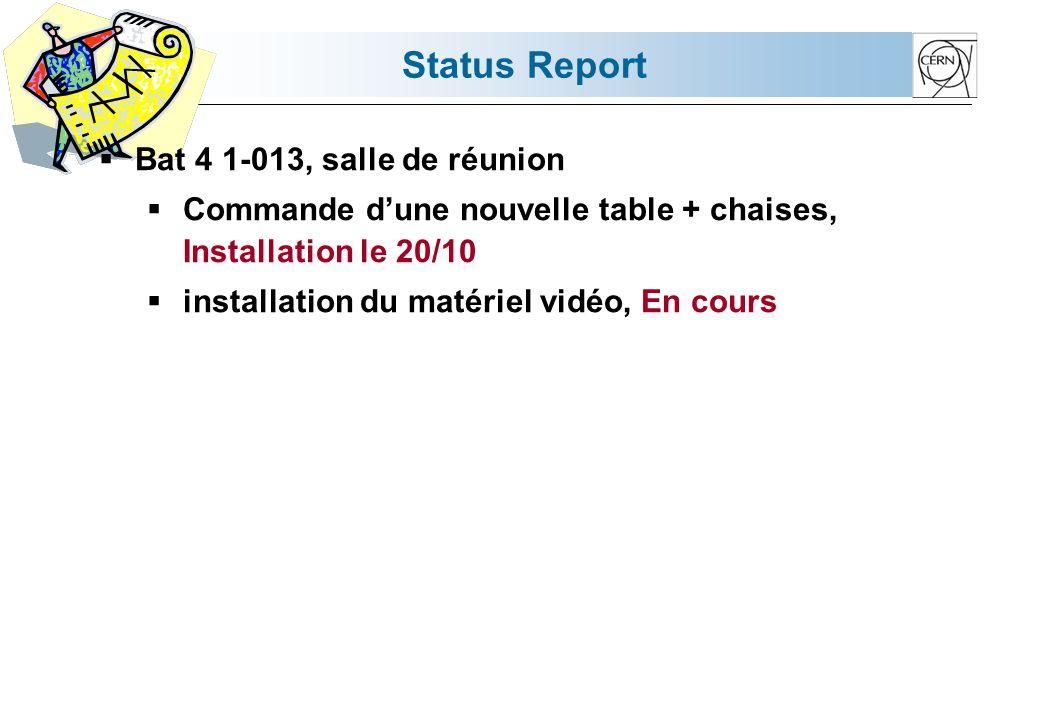 Status Report Bat 4 1-013, salle de réunion Commande dune nouvelle table + chaises, Installation le 20/10 installation du matériel vidéo, En cours