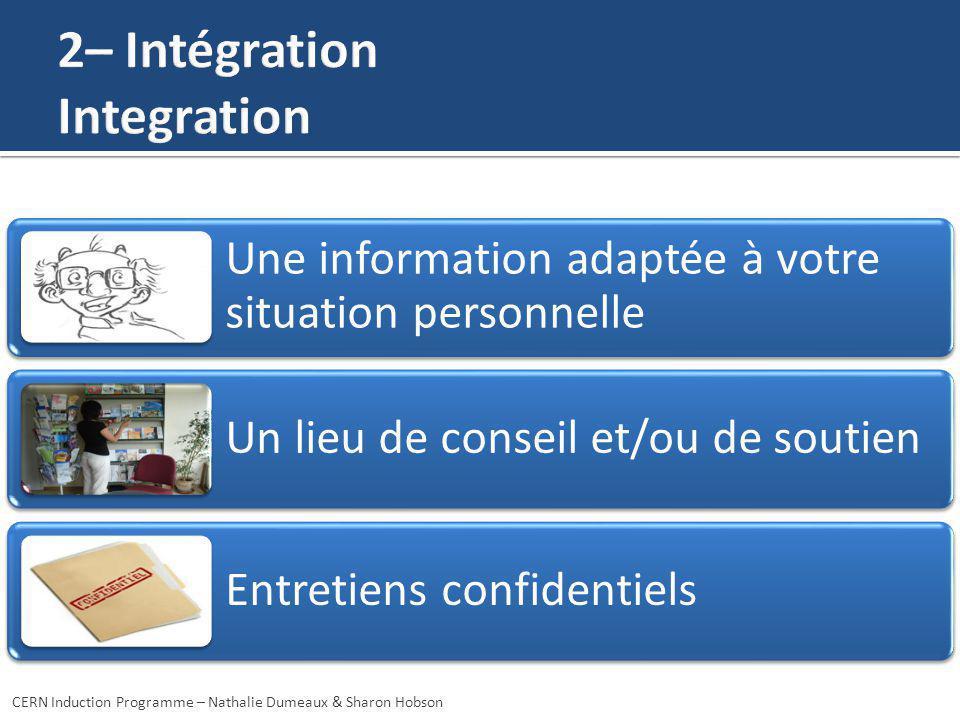 Une information adaptée à votre situation personnelle Un lieu de conseil et/ou de soutien Entretiens confidentiels CERN Induction Programme – Nathalie