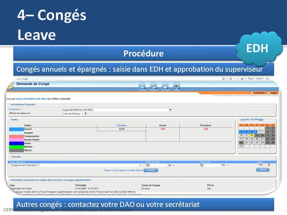 Procédure Autres congés : contactez votre DAO ou votre secrétariat Congés annuels et épargnés : saisie dans EDH et approbation du superviseur CERN Ind