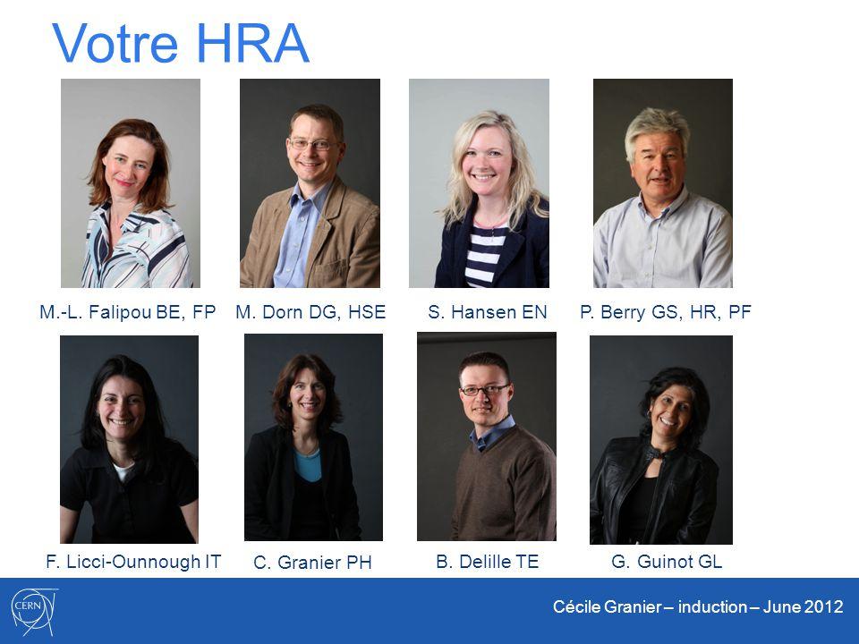 Cécile Granier – induction – June 2012 Votre HRA M.-L. Falipou BE, FPM. Dorn DG, HSES. Hansen ENP. Berry GS, HR, PF F. Licci-Ounnough ITB. Delille TE