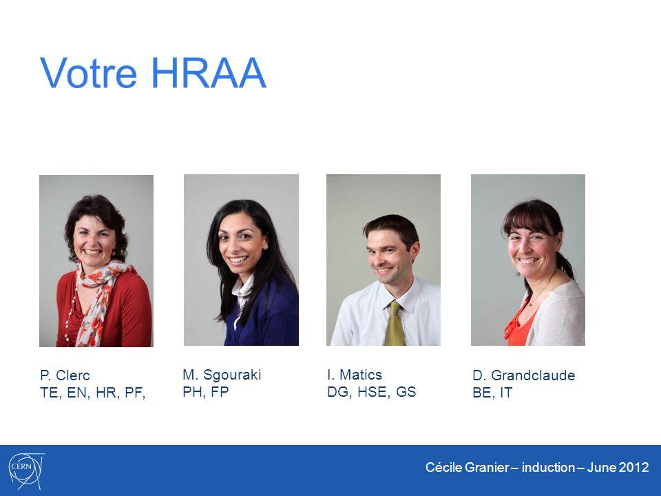 Cécile Granier – induction – June 2012 Votre HRAA I. Matics DG, HSE, GS P. Clerc TE, EN, HR, PF, M. Sgouraki PH, FP D. Grandclaude BE, IT