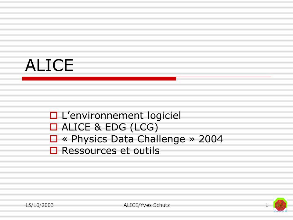 15/10/2003ALICE/Yves Schutz1 ALICE Lenvironnement logiciel ALICE & EDG (LCG) « Physics Data Challenge » 2004 Ressources et outils