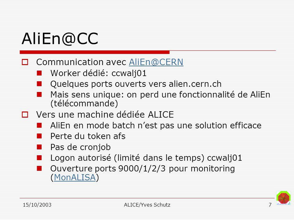 15/10/2003ALICE/Yves Schutz7 AliEn@CC Communication avec AliEn@CERNAliEn@CERN Worker dédié: ccwalj01 Quelques ports ouverts vers alien.cern.ch Mais sens unique: on perd une fonctionnalité de AliEn (télécommande) Vers une machine dédiée ALICE AliEn en mode batch nest pas une solution efficace Perte du token afs Pas de cronjob Logon autorisé (limité dans le temps) ccwalj01 Ouverture ports 9000/1/2/3 pour monitoring (MonALISA)MonALISA