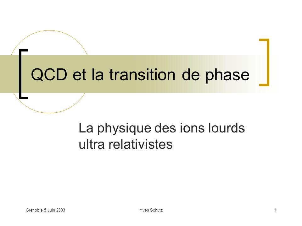 Grenoble 5 Juin 2003Yves Schutz2 Motivation La propriété de liberté asymptotique de QCD implique quà suffisamment petite distance ou grand moment transféré la dynamique des quarks et gluons est décrite par un couplage faible : Formation dun plasma de quarks et de gluons à haute température, Test de linteraction forte à léchelle QCD (T QCD = 200 MeV ; > GeV/fm 3 ).