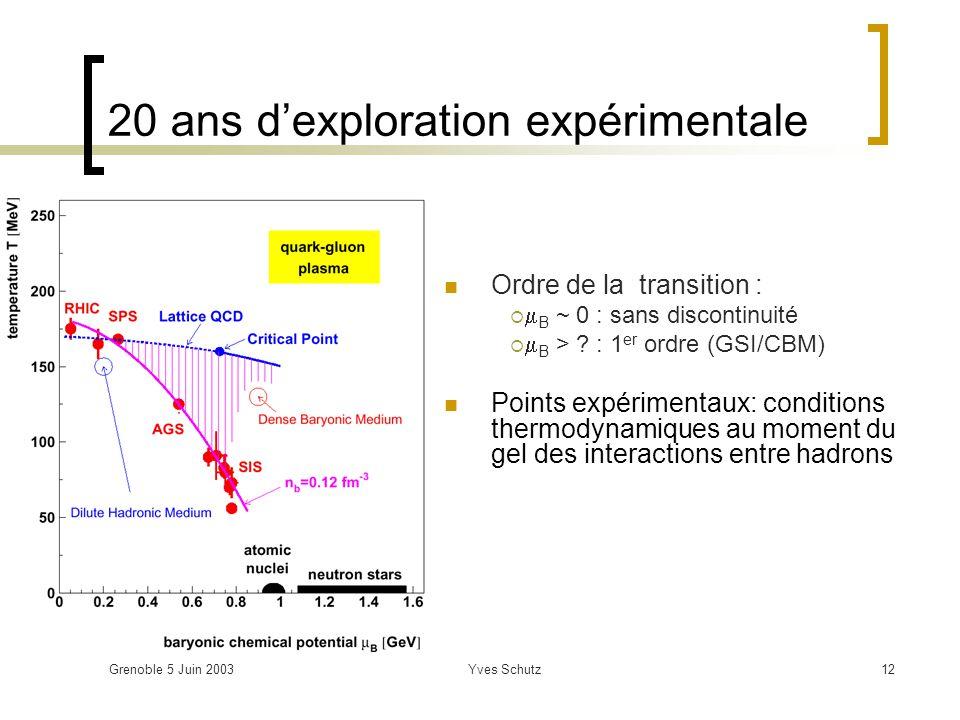Grenoble 5 Juin 2003Yves Schutz12 20 ans dexploration expérimentale Ordre de la transition : B ~ 0 : sans discontinuité B > ? : 1 er ordre (GSI/CBM) P