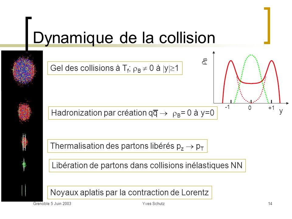 Grenoble 5 Juin 2003Yves Schutz14 Dynamique de la collision Noyaux aplatis par la contraction de Lorentz Libération de partons dans collisions inélast