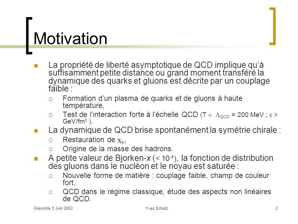 Grenoble 5 Juin 2003Yves Schutz43 pp & pA : données de référence Liste non exhaustive : Multiplicité PDF, shadowing, saturation à petit x, Fonction de fragmentation perte dénergie des partons dans le milieu, Spectre en p T effets collectifs (écoulement transverse), Taux relatif de production des hadrons : interactions dans létat final, équilibre chimique, Calibrer toutes les sondes : étrangeté, quarks lourds, quarkonia, di-leptons, photons