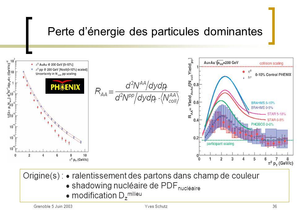 Grenoble 5 Juin 2003Yves Schutz36 Origine(s) : ralentissement des partons dans champ de couleur shadowing nucléaire de PDF nucléaire modification D z
