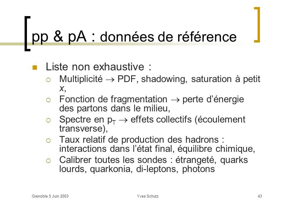 Grenoble 5 Juin 2003Yves Schutz43 pp & pA : données de référence Liste non exhaustive : Multiplicité PDF, shadowing, saturation à petit x, Fonction de