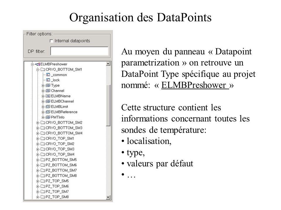 Organisation des DataPoints Au moyen du panneau « Datapoint parametrization » on retrouve un DataPoint Type spécifique au projet nommé: « ELMBPreshower » Cette structure contient les informations concernant toutes les sondes de température: localisation, type, valeurs par défaut …