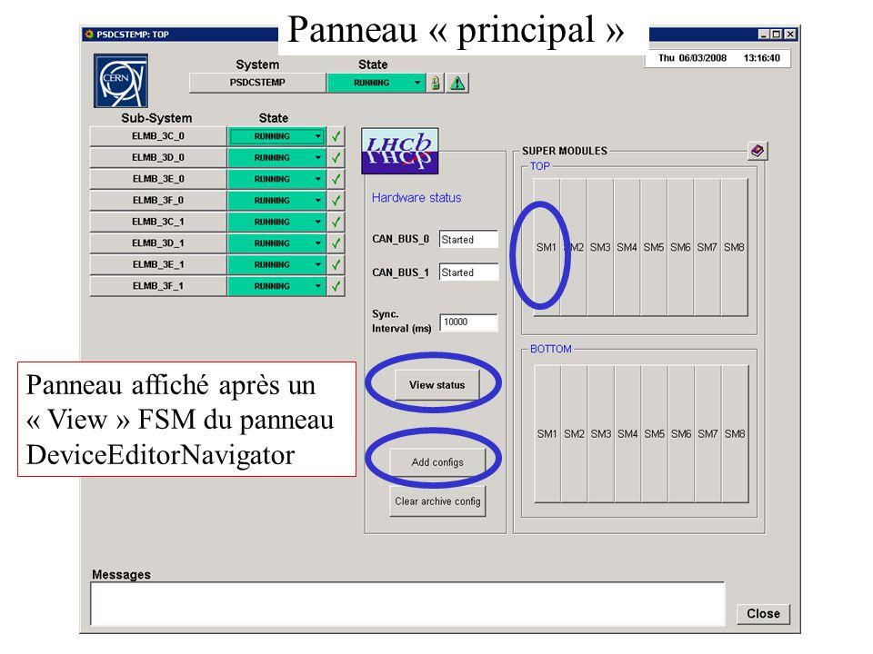 Panneau affiché après un « View » FSM du panneau DeviceEditorNavigator Panneau « principal »