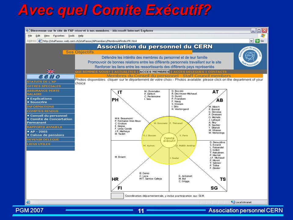 PGM 2007 Association personnel CERN 10 Programme dinduction pour les nouveaux arrivants au CERN Association du Personnel Conférencier : S.Casenove