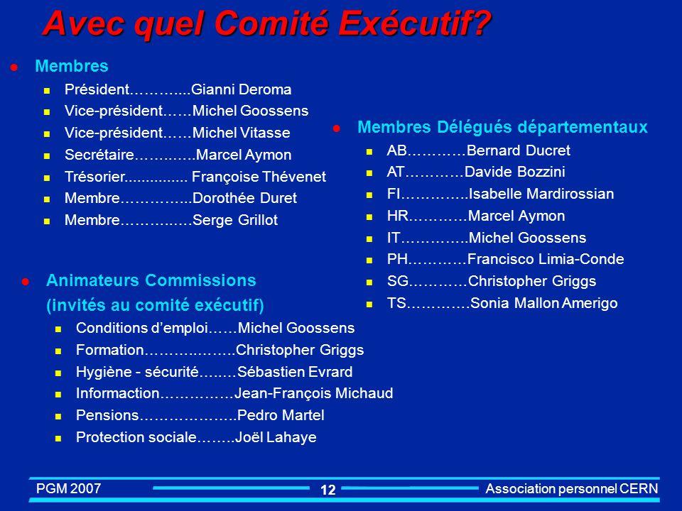 PGM 2007 Association personnel CERN 1 Avec quel Comite Exécutif?