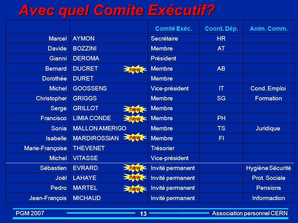 PGM 2007 Association personnel CERN 12 Avec quel Comité Exécutif? l Membres n Président………....Gianni Deroma n Vice-président……Michel Goossens n Vice-p