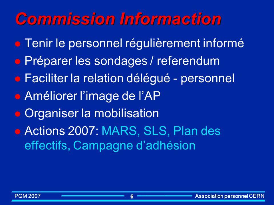 PGM 2007 Association personnel CERN 6 Commission Informaction l Tenir le personnel régulièrement informé l Préparer les sondages / referendum l Faciliter la relation délégué - personnel l Améliorer limage de lAP l Organiser la mobilisation l Actions 2007: MARS, SLS, Plan des effectifs, Campagne dadhésion