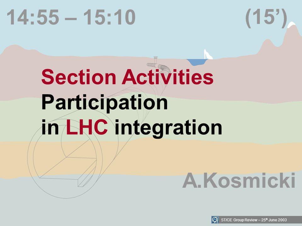 ST/CE Group Review – 25 th June 2003 14:55 – 15:10 Section Activities Participation in LHC integration (15) A.Kosmicki