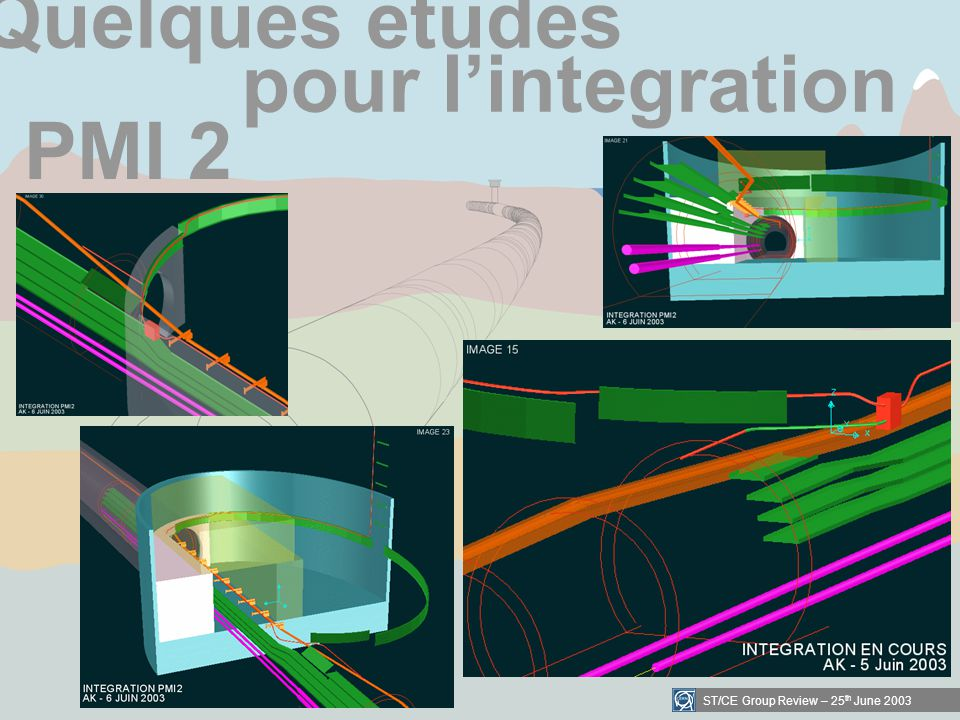 ST/CE Group Review – 25 th June 2003 Quelques etudes pour lintegration PMI 2
