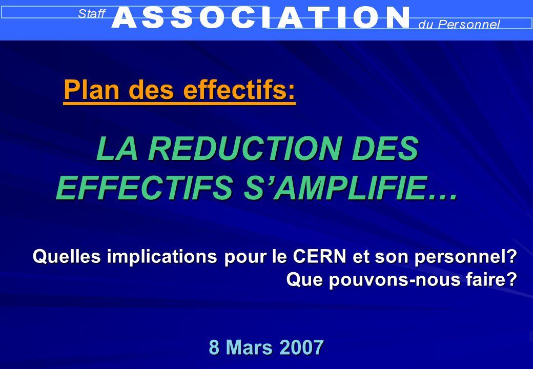 8 Mars 2007 Quelles implications pour le CERN et son personnel? Que pouvons-nous faire? LA REDUCTION DES EFFECTIFS SAMPLIFIE… Plan des effectifs: