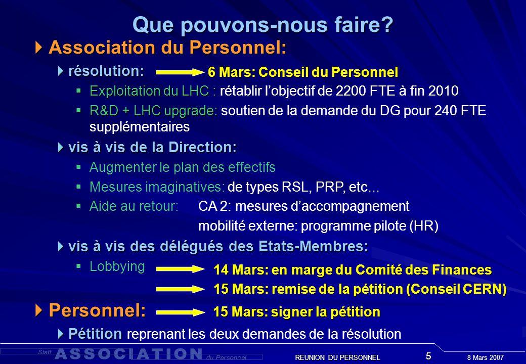 8 Mars 2007 REUNION DU PERSONNEL 5 Que pouvons-nous faire? Association du Personnel: Association du Personnel: résolution: résolution: Exploitation du