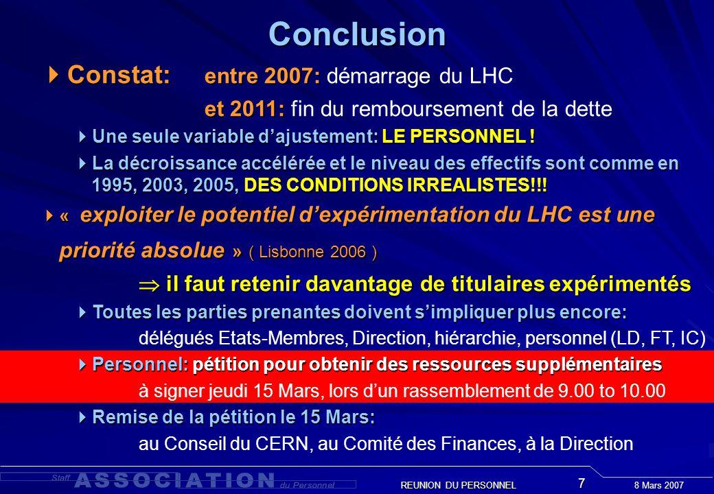 8 Mars 2007 REUNION DU PERSONNEL 7Conclusion Constat: entre 2007: Constat: entre 2007: démarrage du LHC et 2011: et 2011: fin du remboursement de la dette Une seule variable dajustement: LE PERSONNEL .