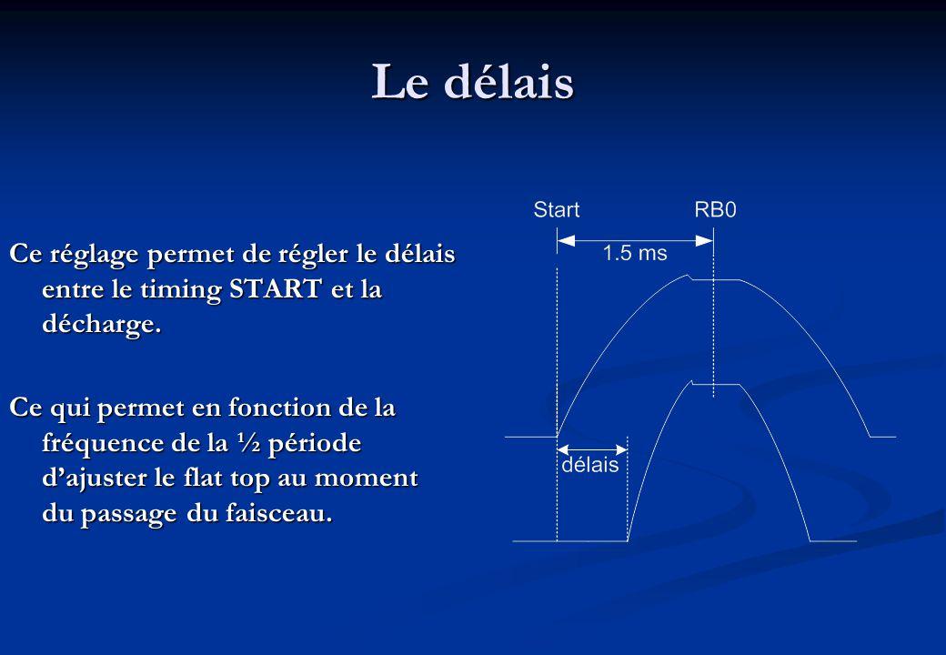 Le délais Ce réglage permet de régler le délais entre le timing START et la décharge.
