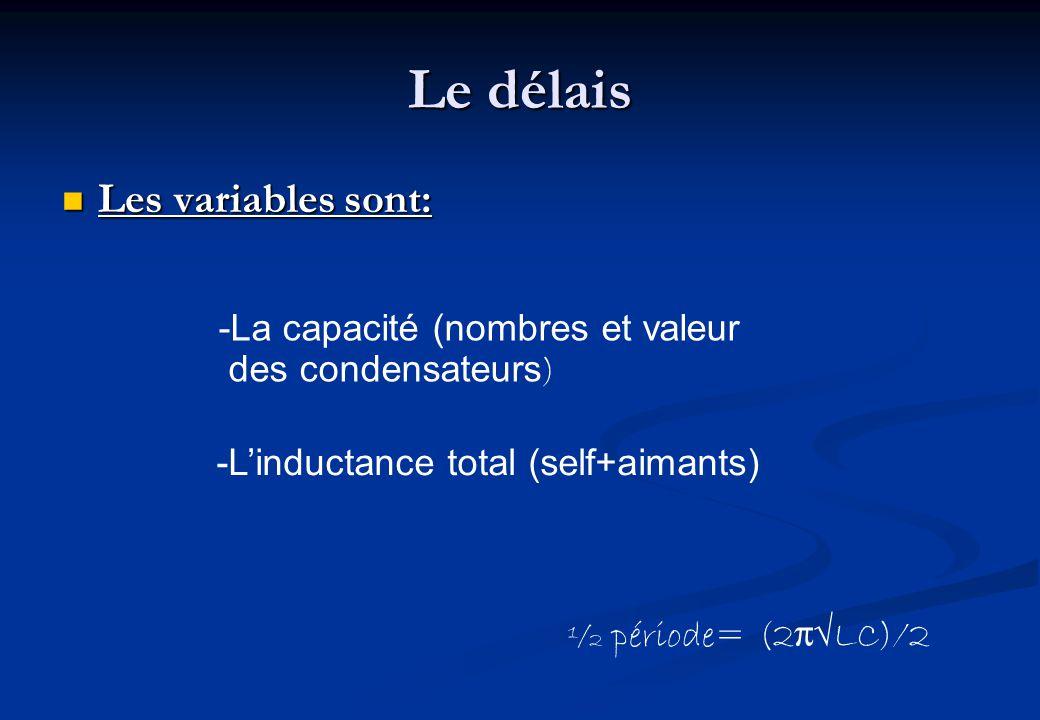 Le délais Les variables sont: Les variables sont: -La capacité (nombres et valeur des condensateurs ) -Linductance total (self+aimants) ½ période= (2πLC)/2