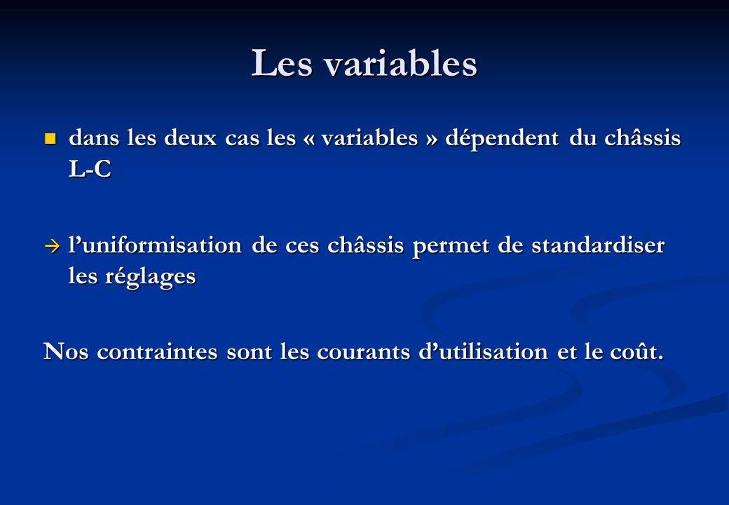 Les variables dans les deux cas les « variables » dépendent du châssis L-C dans les deux cas les « variables » dépendent du châssis L-C luniformisation de ces châssis permet de standardiser les réglages luniformisation de ces châssis permet de standardiser les réglages Nos contraintes sont les courants dutilisation et le coût.