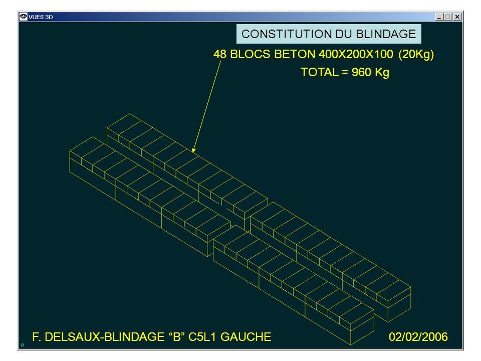 F. DELSAUX-BLINDAGE B C5L1 GAUCHE02/02/2006 48 BLOCS BETON 400X200X100 (20Kg) TOTAL = 960 Kg CONSTITUTION DU BLINDAGE
