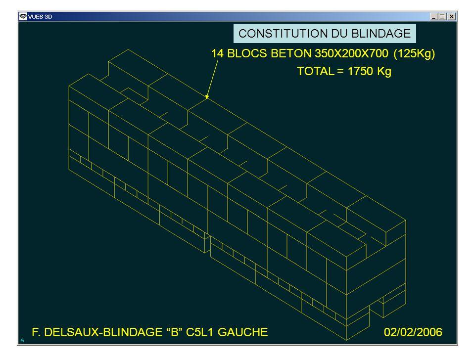 F. DELSAUX-BLINDAGE B C5L1 GAUCHE02/02/2006 14 BLOCS BETON 350X200X700 (125Kg) TOTAL = 1750 Kg CONSTITUTION DU BLINDAGE