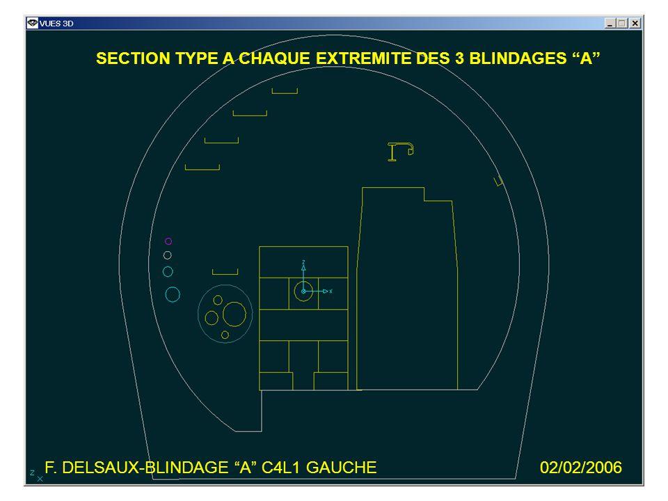 F. DELSAUX-BLINDAGE A C4L1 GAUCHE02/02/2006 SECTION TYPE A CHAQUE EXTREMITE DES 3 BLINDAGES A