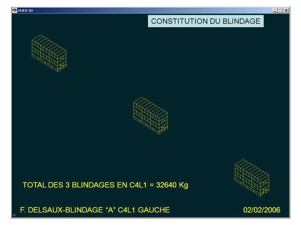 F. DELSAUX-BLINDAGE A C4L1 GAUCHE02/02/2006 TOTAL DES 3 BLINDAGES EN C4L1 = 32640 Kg CONSTITUTION DU BLINDAGE