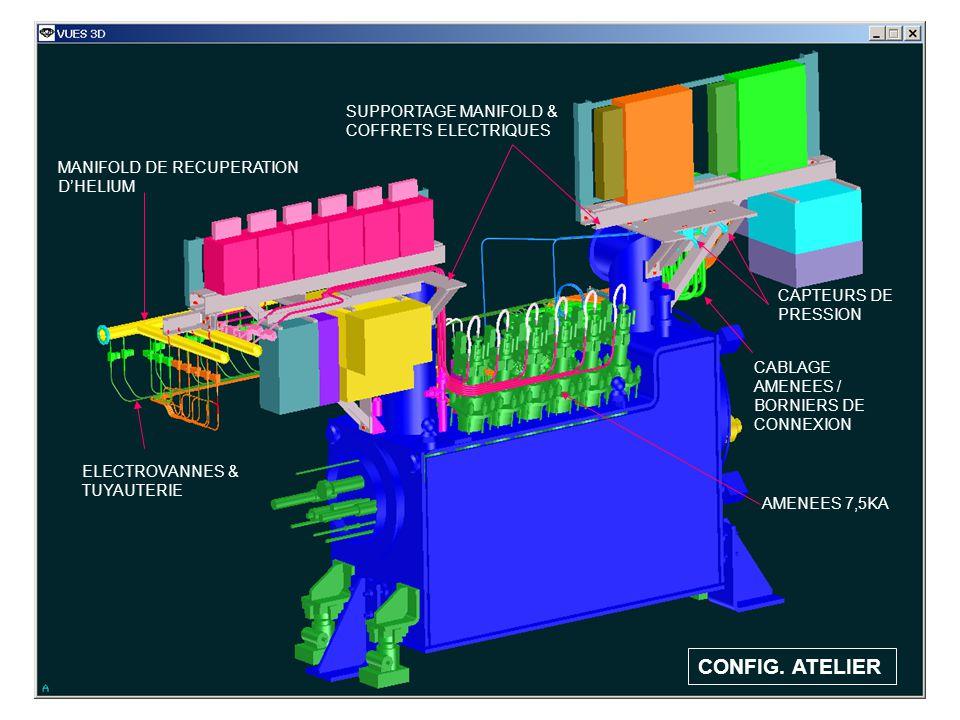 CONFIG. ATELIER MANIFOLD DE RECUPERATION DHELIUM ELECTROVANNES & TUYAUTERIE SUPPORTAGE MANIFOLD & COFFRETS ELECTRIQUES AMENEES 7,5KA CABLAGE AMENEES /