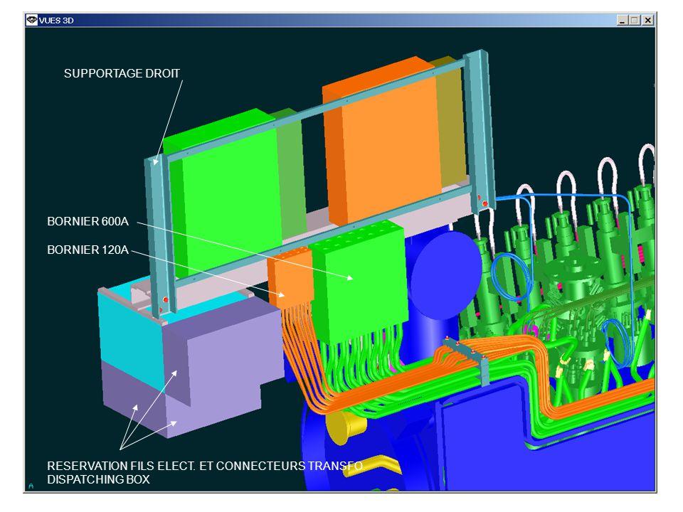 SUPPORTAGE DROIT BORNIER 600A BORNIER 120A RESERVATION FILS ELECT. ET CONNECTEURS TRANSFO. DISPATCHING BOX